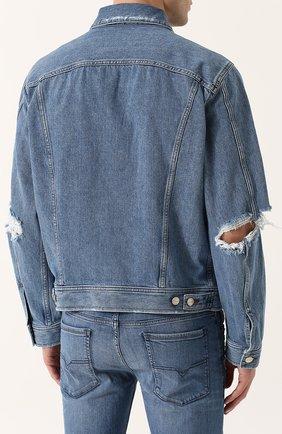 Джинсовая куртка на пуговицах с потертостями Diesel синяя | Фото №4