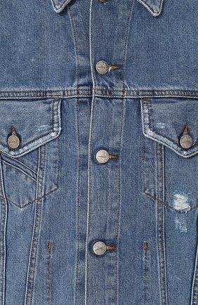 Джинсовая куртка на пуговицах с потертостями Diesel синяя | Фото №5