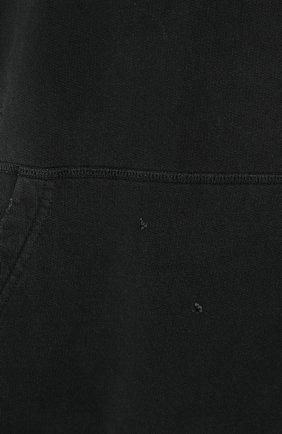 Хлопковое худи с потертостями Diesel черный   Фото №5