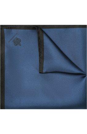 Мужской шелковый платок с контрастным кантом DOLCE & GABBANA бирюзового цвета, арт. GR412E/G0U4C   Фото 1