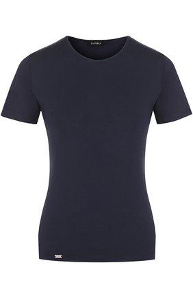 Женская приталенная футболка с круглым вырезом LA PERLA темно-синего цвета, арт. 0020323   Фото 1