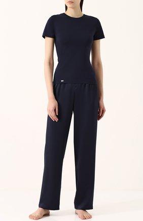 Женская приталенная футболка с круглым вырезом LA PERLA темно-синего цвета, арт. 0020323   Фото 2