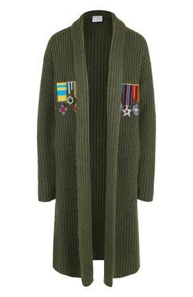 Удлиненный кардиган фактурной вязки Stella Jean зеленый   Фото №1