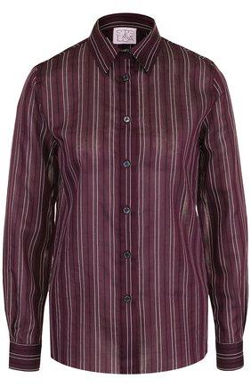 Блуза из смеси хлопка и шелка в полоску | Фото №1