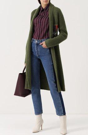Женская блуза из смеси хлопка и шелка в полоску Stella Jean, цвет бордовый, арт. J C 001 00 T 9258 в ЦУМ   Фото №1