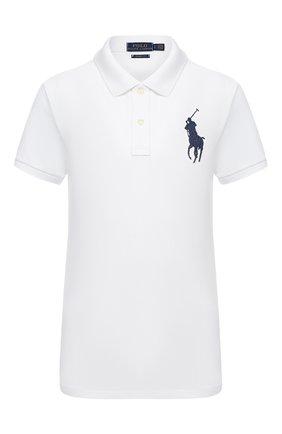Женское хлопковое поло с вышитым логотипом бренда POLO RALPH LAUREN белого цвета, арт. 211505656 | Фото 1