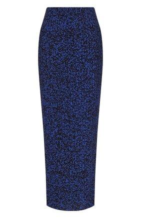 Плиссированная юбка-карандаш с принтом Solace синяя | Фото №1