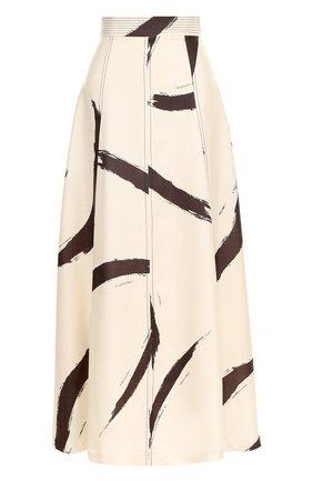 Шелковая юбка-макси с широким поясом и принтом | Фото №1