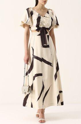 Шелковая юбка-макси с широким поясом и принтом Zimmermann бежевая | Фото №1
