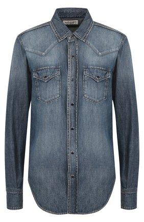 Джинсовая блуза с накладными карманами и потертостями | Фото №1