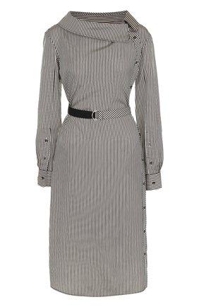Платье-миди с поясом и длинным рукавом Altuzarra черно-белое   Фото №1