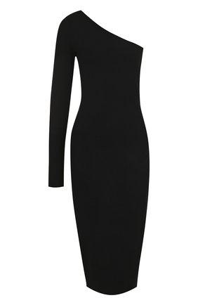 Однотонное платье-футляр асимметричного кроя   Фото №1