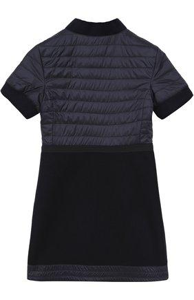 Детское шерстяное платье на молнии с отделкой Moncler Enfant синего цвета | Фото №1