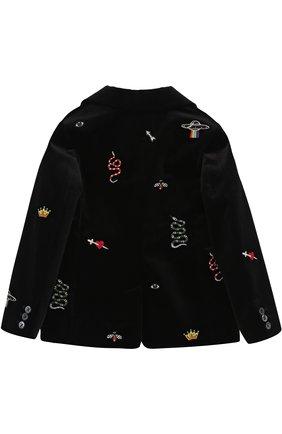 Бархатный пиджак с вышивками | Фото №2
