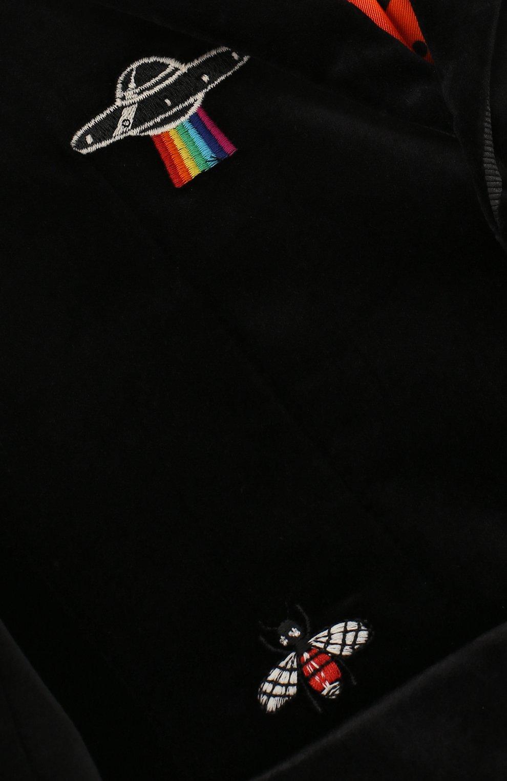 Бархатный пиджак с вышивками | Фото №3