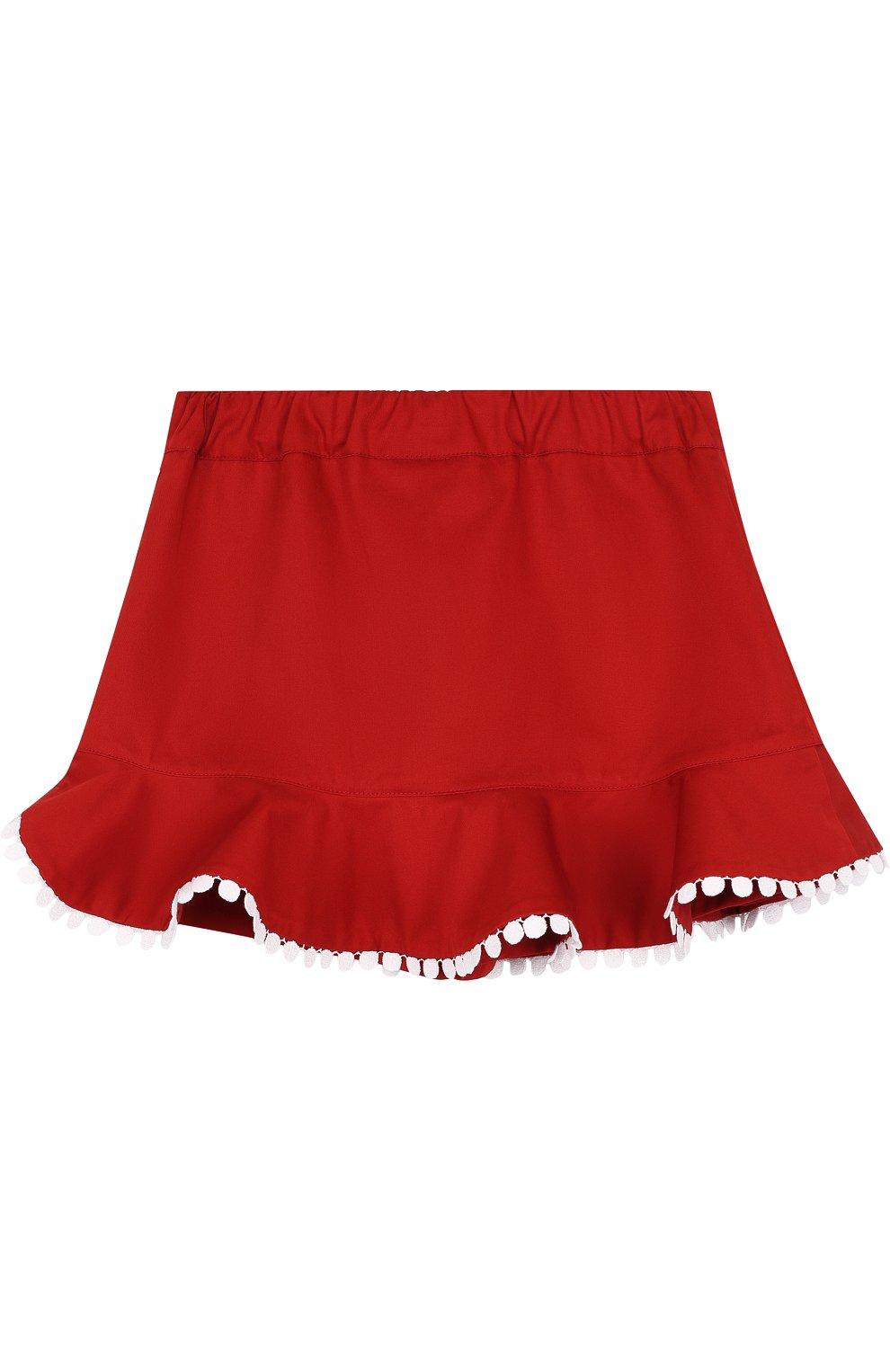 Юбка-шорты с оборкой и контрастной отделкой | Фото №2
