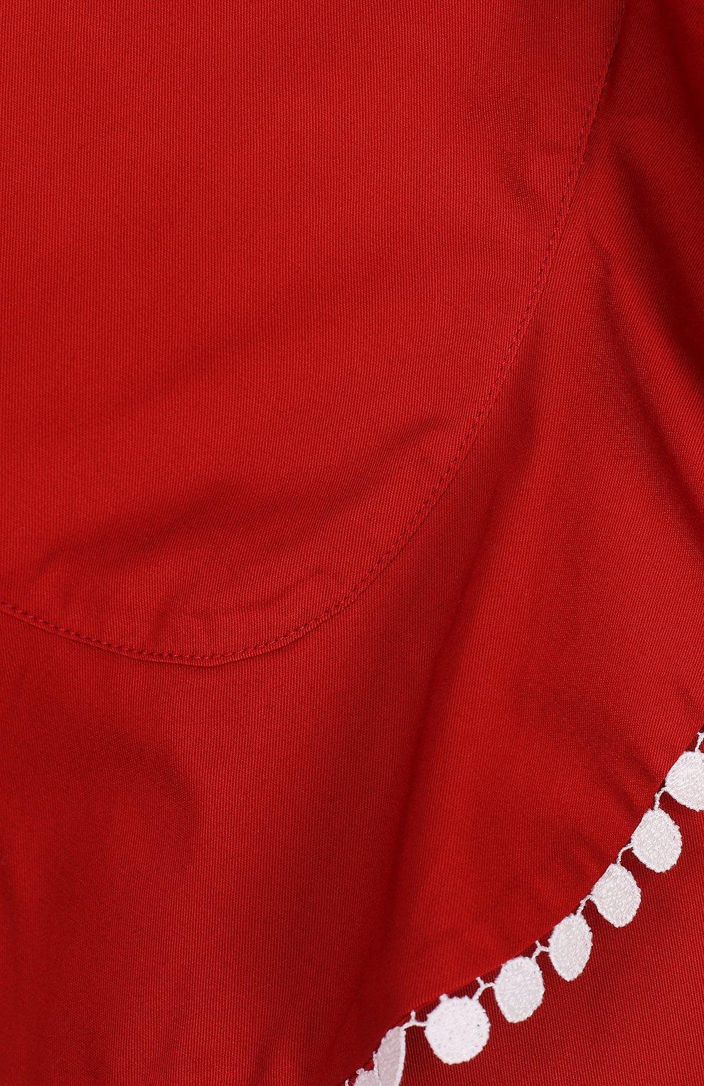 Юбка-шорты с оборкой и контрастной отделкой | Фото №3