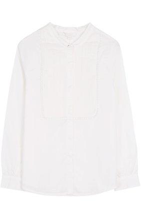 Хлопковая блуза с декоративной отделкой | Фото №1