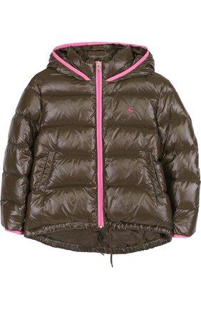 Пуховая куртка с капюшоном Fay Junior хаки цвета | Фото №1