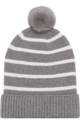 Кашемировая вязаная шапка с меховым помпоном | Фото №1