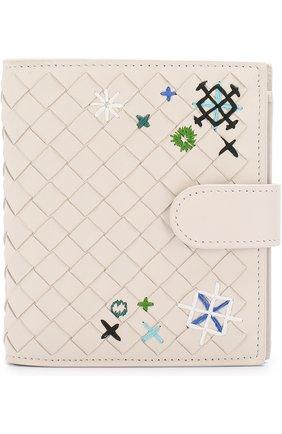Кожаный кошелек с плетением intrecciato и вышивкой | Фото №1