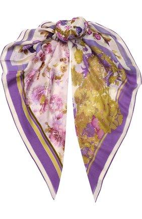 Шаль из смеси кашемира и шелка с цветочным принтом   Фото №1