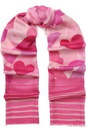 Женская палантин love story из смеси кашемира и шелка с принтом LORO PIANA розового цвета, арт. FAI1010 | Фото 1
