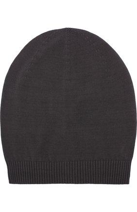 Хлопковая вязаная шапка Rick Owens серого цвета | Фото №1