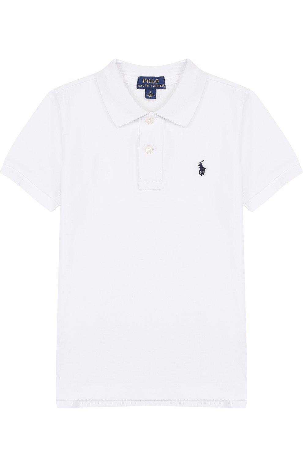 1c4649a4aceb Детское хлопковое поло с логотипом бренда POLO RALPH LAUREN белого ...