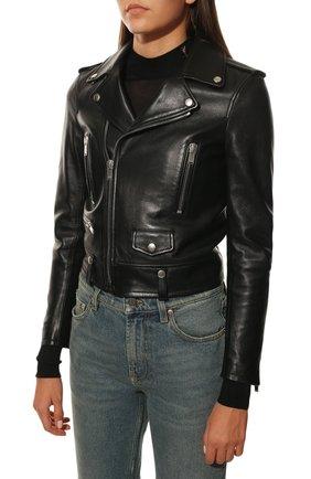 Женская кожаная куртка SAINT LAURENT черного цвета, арт. 481862/Y5YA2 | Фото 3