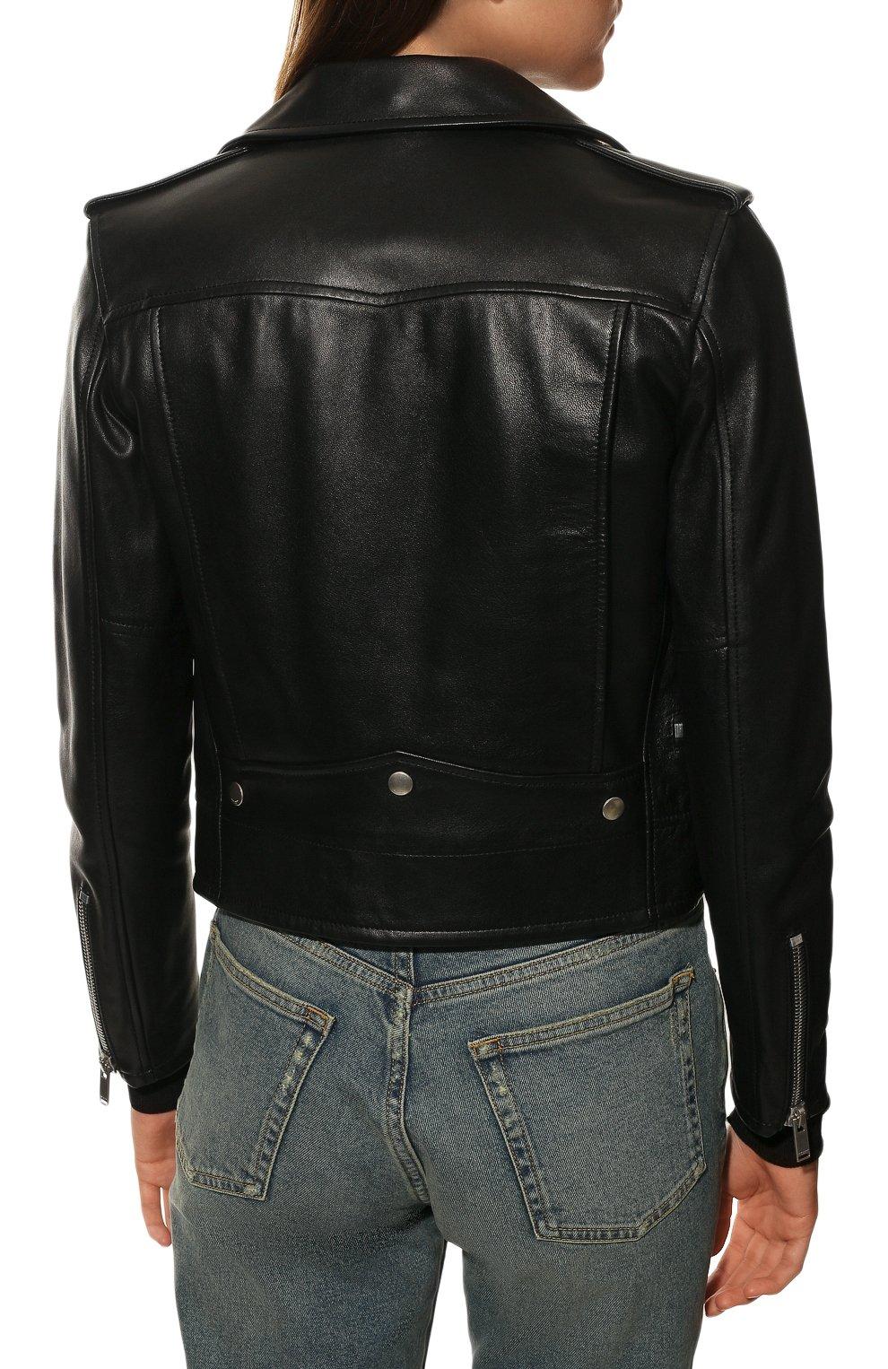 Женская кожаная куртка SAINT LAURENT черного цвета, арт. 481862/Y5YA2 | Фото 4