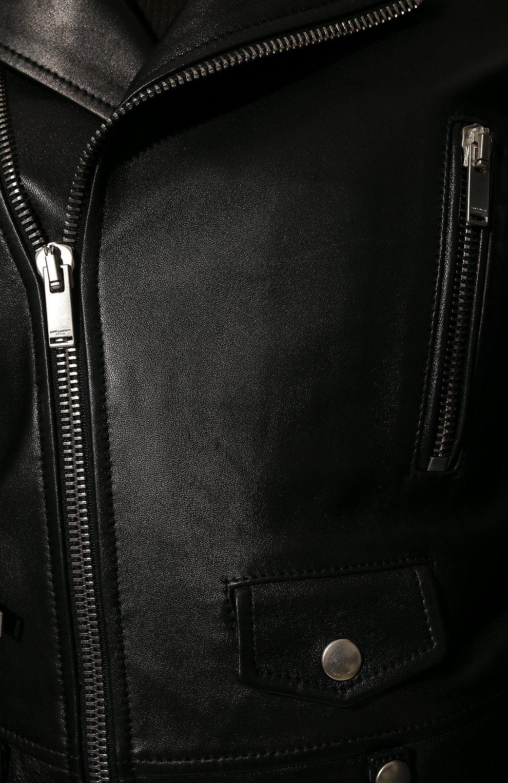 Женская кожаная куртка SAINT LAURENT черного цвета, арт. 481862/Y5YA2 | Фото 5