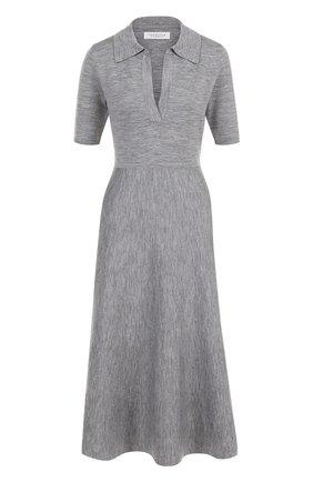 Шерстяное платье-миди с коротким рукавом Gabriela Hearst серое | Фото №1