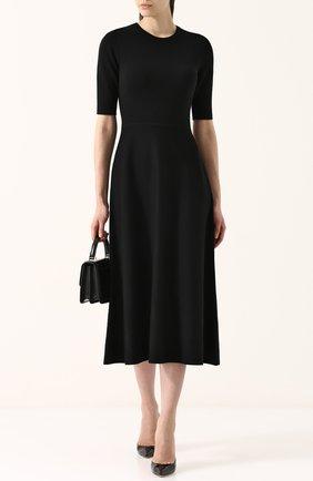 Шерстяное платье-миди с коротким рукавом Gabriela Hearst черное | Фото №1