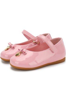 Лаковые туфли с ремешком и бантами | Фото №1