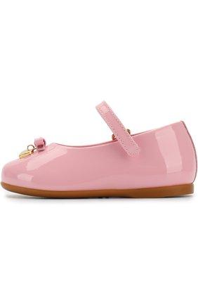 Детские лаковые туфли с ремешком и бантами DOLCE & GABBANA светло-розового цвета, арт. D20057/A1328 | Фото 2
