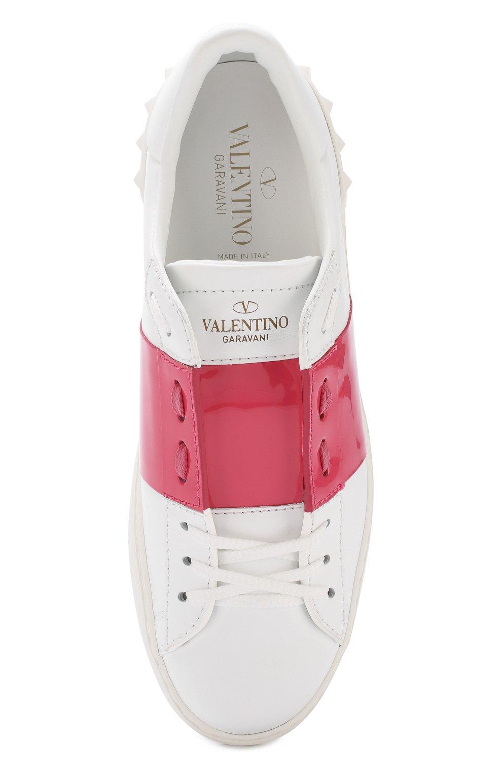 eb76b80e0aba Женские розовые кожаные кеды valentino garavani open с контрастной ...