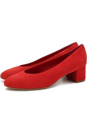 Замшевые туфли на устойчивом каблуке Mansur Gavriel красные   Фото №1