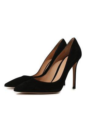 Женская замшевые туфли gianvito 105 на шпильке GIANVITO ROSSI черного цвета, арт. G28470.15RIC.CAMNER0 | Фото 1