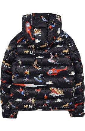 Пуховая куртка с принтом и капюшоном Moncler Enfant синего цвета   Фото №1