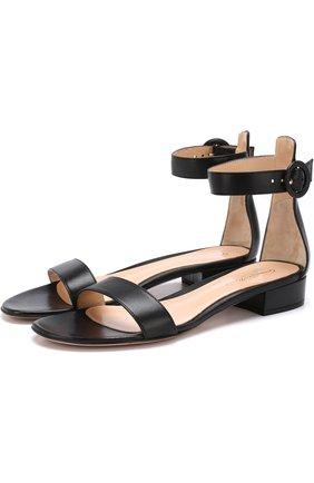 Женские кожаные сандалии portofino 20 с ремешком GIANVITO ROSSI черного цвета, арт. G60354.20RIC.NAPNER0 | Фото 1