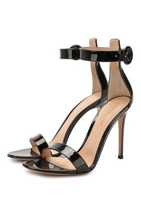 Женские кожаные босоножки portofino GIANVITO ROSSI черного цвета, арт. G61096.15RIC.VERNER0 | Фото 1
