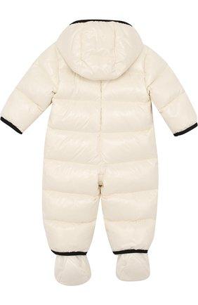Детский пуховый комбинезон с капюшоном и пинетками MONCLER ENFANT белого цвета, арт. C2-951-14356-05-68950/9-12M | Фото 2