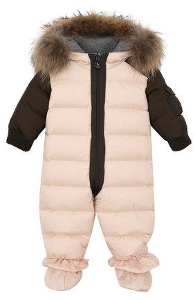 Детский пуховый комбинезон с меховой отделкой на капюшоне и пинетками MONCLER ENFANT светло-розового цвета, арт. C2-951-19313-25-53227/6-9M | Фото 1