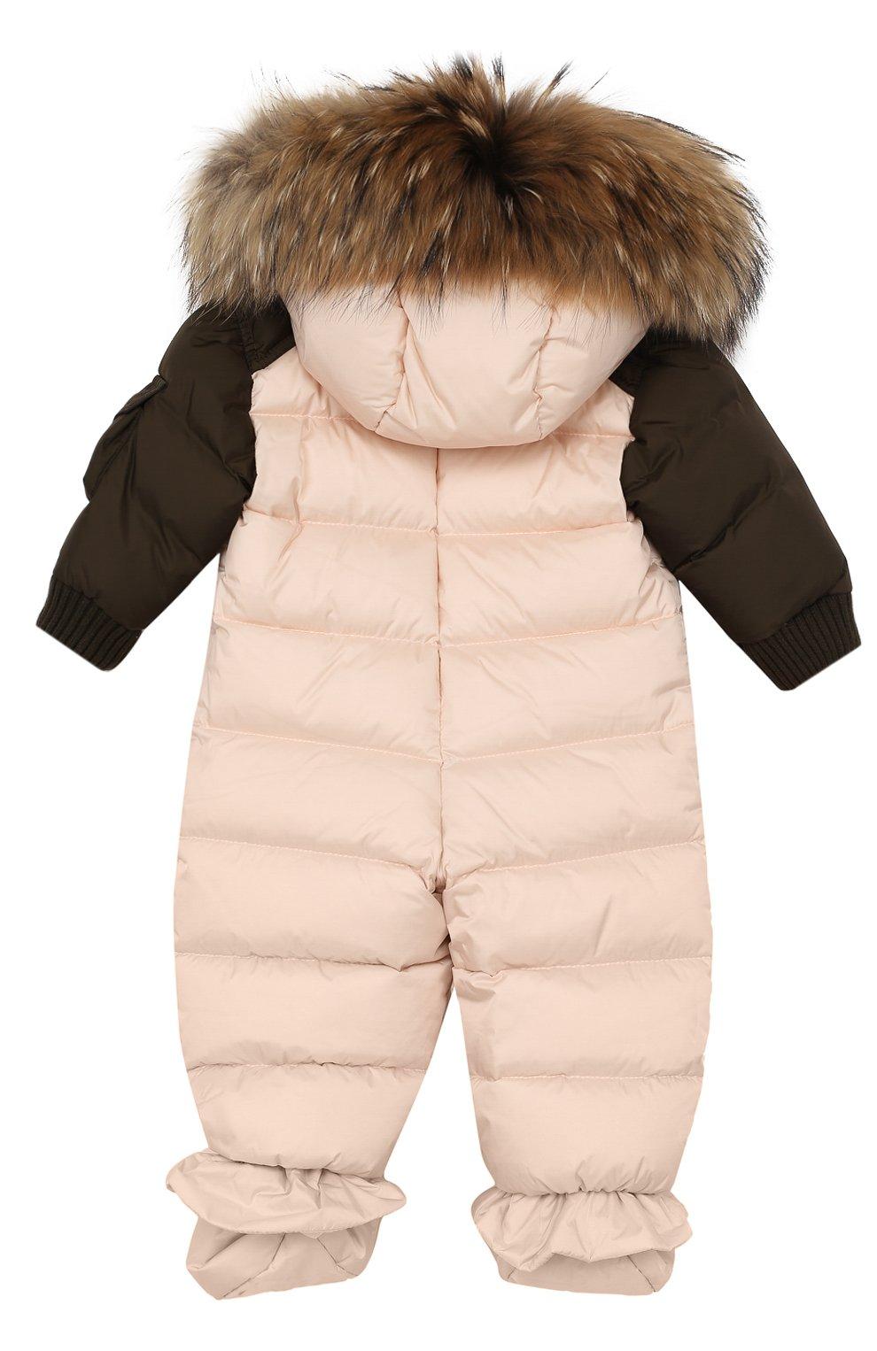 Детский пуховый комбинезон с меховой отделкой на капюшоне и пинетками MONCLER ENFANT светло-розового цвета, арт. C2-951-19313-25-53227/6-9M | Фото 2