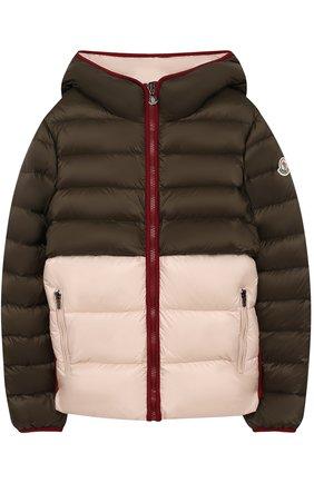 Пуховая куртка с капюшоном и кружевной отделкой Moncler Enfant хаки цвета   Фото №1