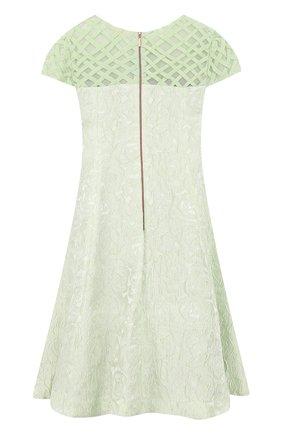 Детское приталенное платье с декоративной отделкой Quis Quis светло-зеленого цвета | Фото №1