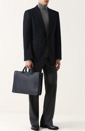 Кожаный портфель на молнии с плечевым ремнем | Фото №2