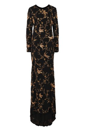 Шелковое платье-макси с подолом и контрастной вышивкой | Фото №1