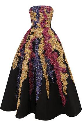 Шелковое платье-бюстье с контрастной цветочной вышивкой   Фото №1